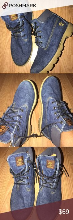 DENIM TIMBERLAND BOOTS Very unique pair of boots, more comfortable to wear than the stiff construction tims, minor wear, good condition. size 6 men or 8 women. Timberland Shoes Combat & Moto Boots