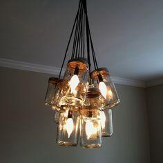 mason jar chandelier   DIY Mason Jar Chandelier! Could go with modern ...   Mason Jars Ideas