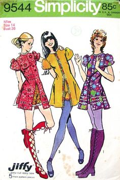 1970's mini dress and shorts sewing pattern illustrations.