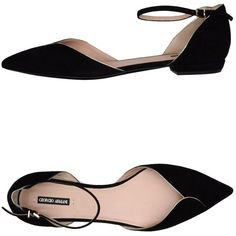 Giorgio Armani Ballet Flats (605 SGD) ❤ liked on Polyvore featuring shoes, flats, black, black ballet flats, ballerina pumps, black ballet shoes, ballet pumps and ballet flat shoes