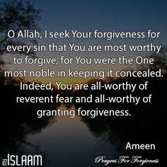 O Allah, I seek Your forgiveness. #Dua #Ameen #Prayer #forgive #repent