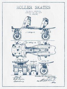 20 free vintage printable blueprints and diagrams remodelaholic roller skate patent google search malvernweather Images
