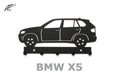 Wieszak na klucze / key rack - BMW X5   Worldwide Shipping  #wieszak #BMW #X5 #klucze #design #dekoracja #pomysl #prezent #idea #car #auto #samochod #black #gift #poland #quality #key #gadzet #czarny #wall #hanger #rack Bmw X5, Key Rack, Stencils, Hanger, Snoopy, Steel, Car, Character, Design
