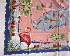 ~ VINTAGE 50's PINK TURQ COTTON TABLECLOTH FLORIDA STATE MAP SOUVENIR FLAMINGOS | eBay Floral Tablecloth, Vintage Tablecloths, Floral Fabric, Cattleya Orchid, Lace Table, Paper Tags, Cutwork, Pink Stripes, Pink Purple