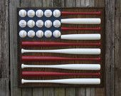 Baseball American Flag.  Love the concept of flags made out of objects-tea cups, cricket bats, toys...