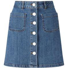 Miss Selfridge Mid Wash Denim Skirt (70 NZD) ❤ liked on Polyvore featuring skirts, dark blue, miss selfridge, knee length denim skirt, blue skirt, dark blue skirt and denim skirt