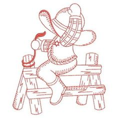 Sweet Heirloom Embroidery Design: Redwork Sunbonnet Cowboy 3.80 inches H x 3.18 inches W