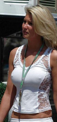 Brunette White Top No Bra Braless Babe Milf Sexy
