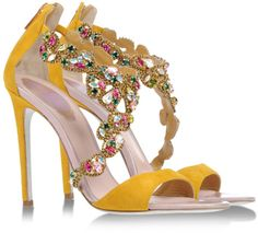 Rene Caovilla Sandals in Yellow (Ochre)