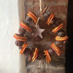 Christmas Dried Oranges and Cone Circle|Door Wreath - Candle and Blue £15.00