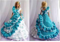 doll dress ideas by crochet Barbie Crochet Gown, Barbie Gowns, Crochet Barbie Clothes, Barbie Dress, Doll Dresses, Barbie Doll, Barbie Patterns, Doll Clothes Patterns, Clothing Patterns
