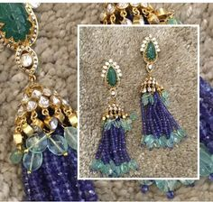 Poetry in motion . Inspired by a Nizami kanthi (necklace) of yore, Russian emeralds and polki entwine in a graceful dance with pearls… Diamond Jhumkas, Diamond Jewelry, Beaded Jewelry, India Jewelry, Temple Jewellery, Gold Jewellery, Heavy Earrings, Ancient Jewelry, Photo Jewelry