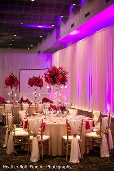 A Gorgeous Pink, Red & Purple Wedding Reception Decor By Prashe Wedding Decor Red Wedding Decorations, Quince Decorations, Quinceanera Decorations, Wedding Themes, Wedding Centerpieces, Red Wedding Receptions, Wedding Mandap, Stage Decorations, Wedding Ideas