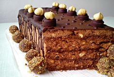 Un tort de excepție cu ciocolată, alune, mascarpone, ganache și praline Ferrero Rocher. Toate aceste ingrediente fac acest desert absolut irezistibil. Deși pare complicat, se prepară destul de simplu și oferă un moment de maxim răsfăț. INGREDIENTE (pentru un tort cu diametrul de 18 cm): -15-20 bomboane Ferrero Rocher. Pentru blaturi: -3 ouă; -190 gr de zahăr; -90 gr de unt moale; -190 gr făină de alune; -115 gr de lapte; -50 gr de făină; -50 gr de cacao; -35 gr amidon de porumb; -1 pliculeț p... Torte Recepti, Kolaci I Torte, Ferrero Rocher, Apple Rose Pastry, Baking Recipes, Cookie Recipes, Rocher Torte, Rodjendanske Torte, Something Sweet