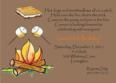 Campfire Smore Marshmallow Birthday Party Invitations Printable Digital File. $12.00, via Etsy.