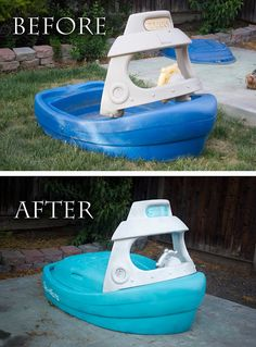 This Tug Boat Makeover is personalized to this little cutie. Little Tikes and Upcycle Ideas on Frugal Coupon Living - Recycle your kids toys and turn them into something fun and new! Outdoor Toys For Kids, Diy For Kids, Outdoor Fun, Little Tikes Makeover, Kids Backyard Playground, Plastic Playground, Little Tykes, Painting Plastic, Toys