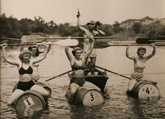 In this shot from the late '40s, participants in Healdsburg's barrel race show off their daring new bikinis. This slide show of many decades' worth of historical photos of the Russian River shows how long the river has been a favorite getaway.