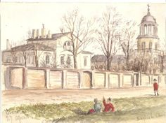 Watercolour of the English Church in Kronstadt (1886) by Dr Frank Clemow who ran the Seaman's Hospital next door