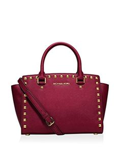 Women's Top-Handle Handbags - Michael Kors Selma Stud Medium Top Zip Satchel Cherry >>> Details can be found by clicking on the image.