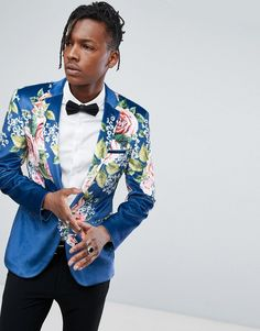 ASOS Super Skinny Suit Jacket In Velvet With Teal Floral Print - Blue