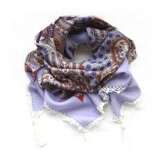 New Russian shawl, Pavlov Posad Shawl, Crochet border shawl with Tassels, Crochet edging Tassels scarf, Lilac Gold Cream Folk Ornament Scarf by ArigatouShop on Etsy