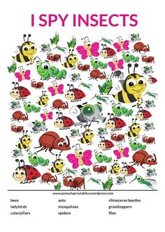I spy Insects Gross Motor Activities, Spring Activities, Learning Activities, Kids Learning, Tot School, School Fun, Kindergarten Pictures, Kids Planner, I Spy Games
