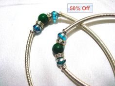 elastic payal glass beads anklets CRYSTAL by myglitteringworld, $29.99, 90% off