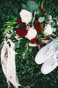 Romantic burgundy red wedding bouquet paired with the sweetest sparkly white bridal Keds (Rudy & Marta) Red Bouquet Wedding, Burgundy Wedding, Red Wedding, Floral Wedding, Perfect Wedding, Wedding Flowers, Wedding Store, Hotel Wedding, Outdoor Ceremony