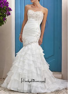 Amazing Organza & Satin Mermaid Strapless Sweetheart Tiered Ruffled Destination Wedding Dress With Beaded Lace Appliques Sale On LuckyDresses.com With Top Quality And Discount
