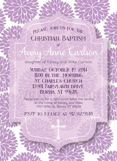 Beautiful and cheerful Baptismal invitation - fully customized for you. After purchasing the listing, you will receive a PRINTABLE DIGITAL FILE