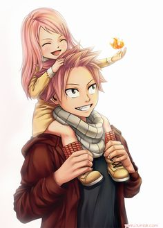 This is so cute. Natsu with his and Lucy's little girl Fairy Tail. Natsu would make such a perfect father. Natsu Fairy Tail, Fairy Tail Lucy, Fairy Tail Ships, Fairy Tail Fotos, Art Fairy Tail, Fairy Tail Amour, Anime Fairy Tail, Fairy Tail Guild, Couples Fairy Tail