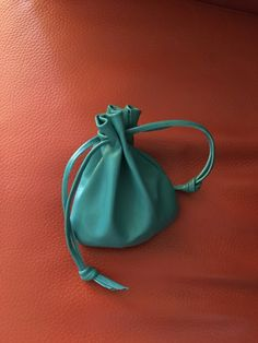 Leather Pouch, Leather Drawstring Pouch Bag, Drawstring Pouch, Leather Bag, Aqua Leather, Shirlbcreationstoo