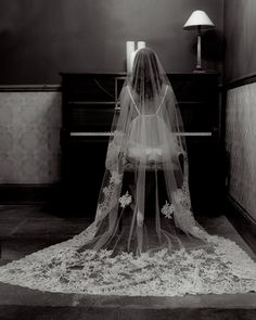 Bespoke Silk Tulle Wedding Veil Decorated With Ornate French Lace And Swarovski Diamante Gorgeous Vintage