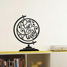 "Sticker globe voyage ""Get Away"" disponible sur www.optimistick.fr"