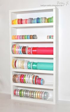 DIY shelf for ribbons and washi tape with simple video tutorial