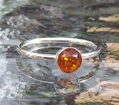 Amber Ring size R Half,  Sterling Silver  £25.00