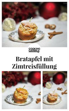 Bratapfel mit Zimt-Milchreis-Füllung, Bratapfel Dessert, Baked Apple dessert, baked apple milk rice, filled baked apple recipe