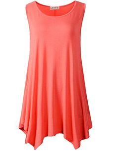 0021beaff8f47 LARACE Women Plus Size Solid Basic Flowy Tank Tops Summer Sleeveless ...