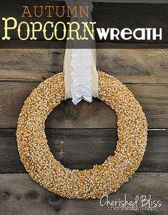 Love this DIY popcorn wreath