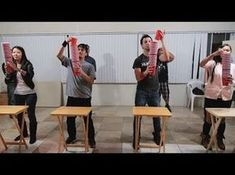 ▶ Minute to Win It: Movin' On Up (4 Players) - YouTube