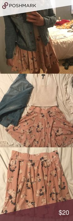 """Urban Outfitters Pink Floral Skater Skirt Urban Outfitters (Pins & Needles Brand) Light Pink Skirt with Grey & White Floral detailing. This is a very soft, cotton material with an elastic waistband so it is really comfortable. I am 5""""2 and can wear this as a high waisted skirt. It has been worn so there are some minor loose threads near the tag (pictured) but other than that it is in great condition! Urban Outfitters Skirts Circle & Skater"""
