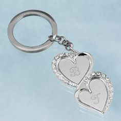 Double Heart Key Ring Great favor and gift idea for the bridal party
