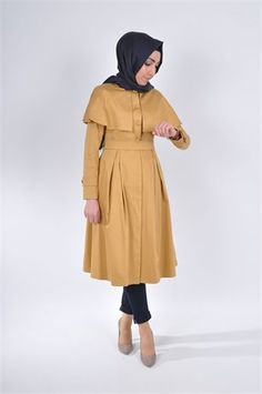 c13faf09fb49c ... trench kot, pileli, 2016 tesettür, pileli kap, düğmeli, pelerinli kap,  pelerin, markaala.com.tr #moda #fashion #diy #tesettür #allday #tunik  #bwest ...