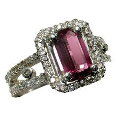 BCS SALE! Purplish Red Spinel & Diamond Platinum Ring - Designer Signed: Reduced by $2700 for our BELOW COST SALE. Ends Sunday.. Now only $1898