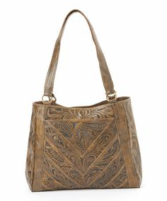 Look at this #zulilyfind! Brown Tooled Vaquetta Leather Hobo by Leaders in Leather #zulilyfinds