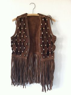 vintage 60s leather fringe vest / WOODSTOCK