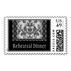 GRAY Damask and Lace Wedding Rehearsal Dinner Postage Stamps