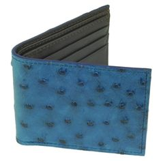 Ostrich Leather Wallet BiFold 6 Credit Card Slots Indigo Blue wBrown Leather Interior ** You can find out more details at the link of the image.