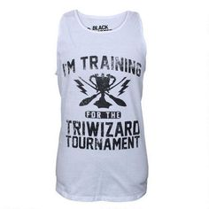 Are you ready for the Triwizard Cup? Put on your game face and gear up in this Harry Potter tank top. This 100% cotton tank top is available in adult sizes. This tank top is a traditional fitting adult unisex garment. Machine Washable