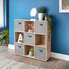 Homesavers | Lokken 9 Cube Shelving Unit & Baskets - Oak Cube Shelving Unit, Shelves, Storage Spaces, Picture Frames, The Unit, Colours, Furniture, Baskets, Home Decor